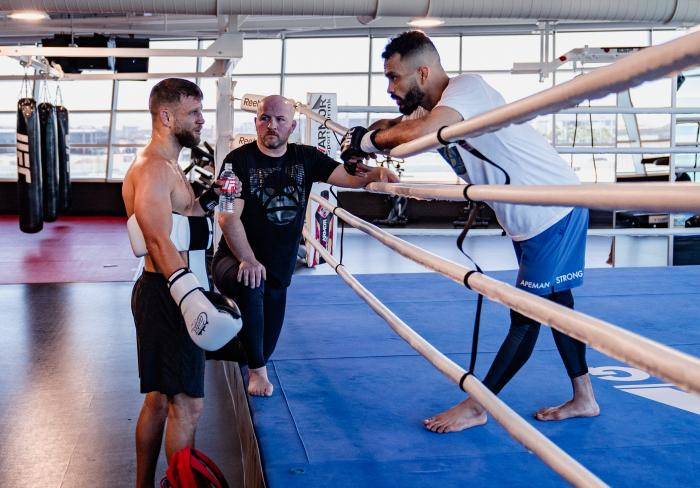 Rob Font and Calvin Kattar train at the UFC Performance Institute on May 13, 2021. (Photo by Zac Pacleb)