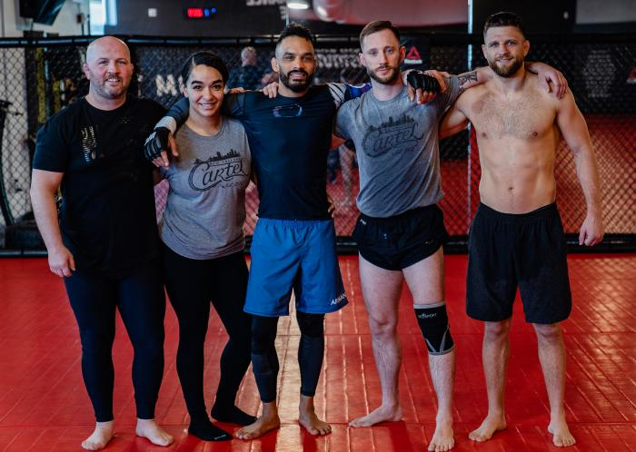 Rob Font and Calvin Kattar trains at the UFC Performance Institute on May 13, 2021. (Photo by Zac Pacleb)