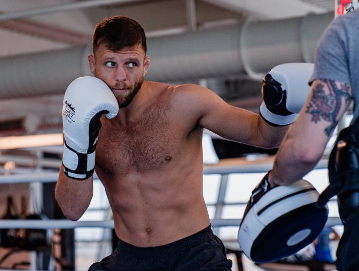 Calvin Kattar trains at the UFC Performance Insitute on May 13, 2021. (Photo by Zac Pacleb)