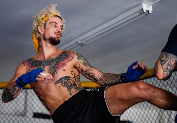 Sean O'Malley trains at his home in Peoria, Arizona, on June 8, 2021. (Photo by Zac Pacleb)