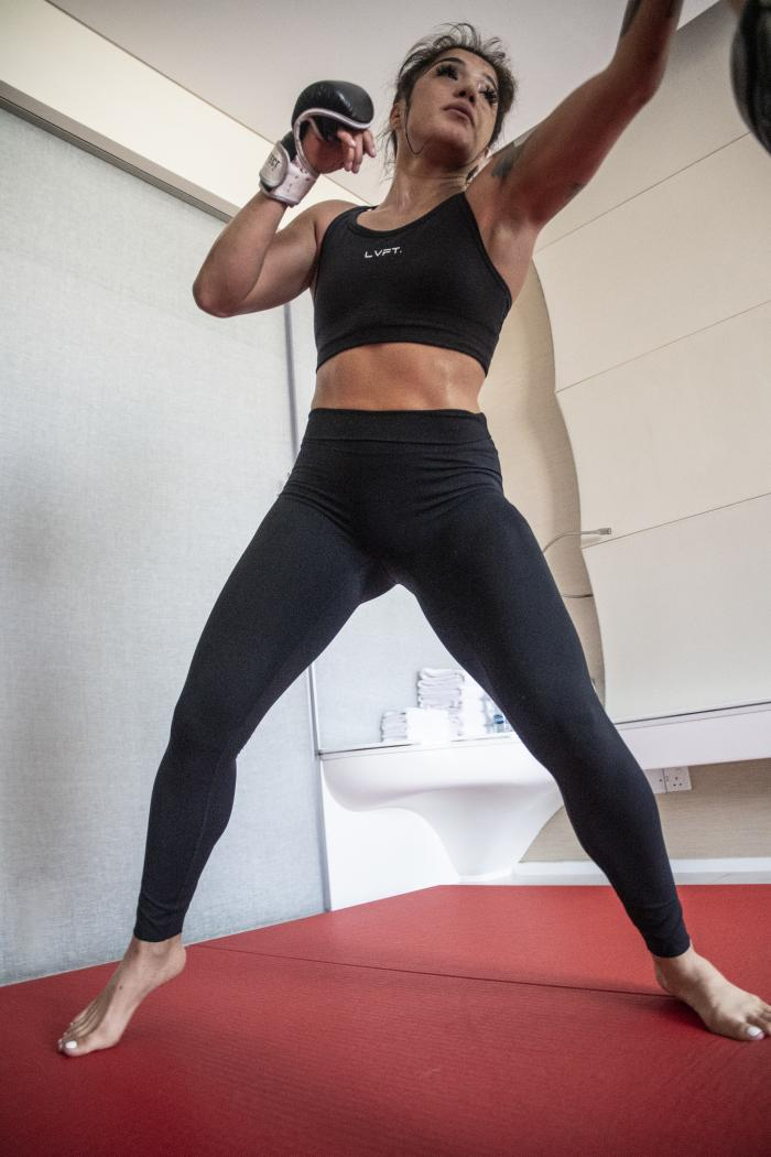 02 - Tracy Cortez training at her training room during UFC Fight Island 5 fight week.