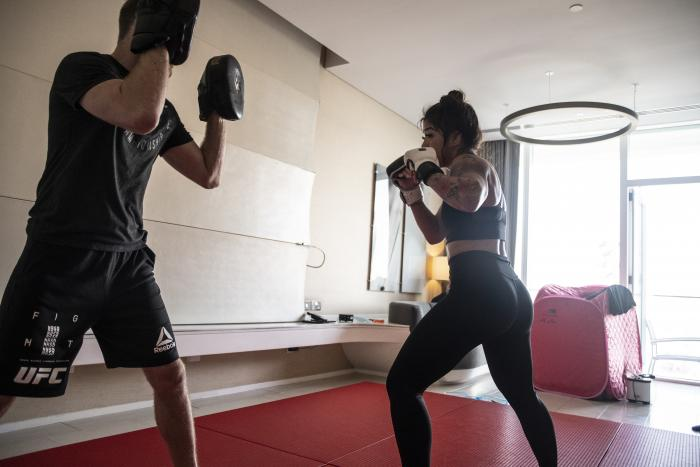 04 - Tracy Cortez training at her training room during UFC Fight Island 5 fight week.