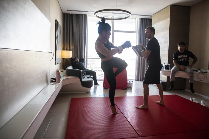 06 - Tracy Cortez training at her training room during UFC Fight Island 5 fight week.
