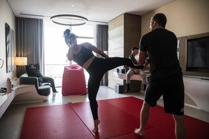 07 - Tracy Cortez training at her training room during UFC Fight Island 5 fight week.