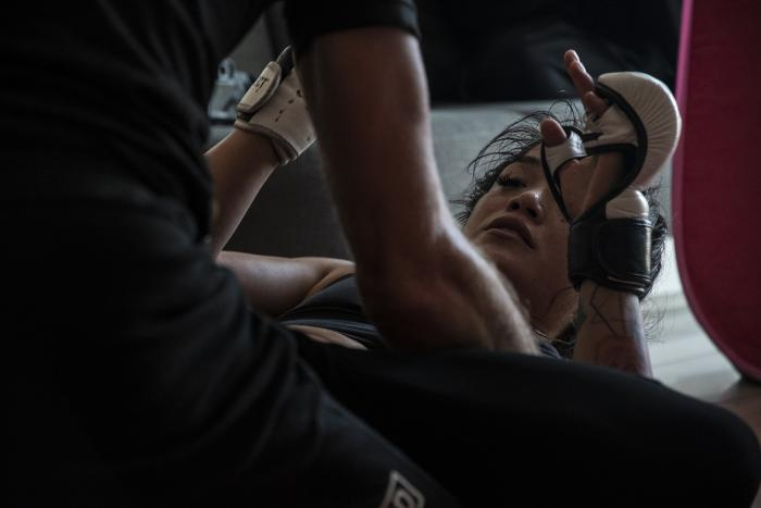 11 - Tracy Cortez training at her training room during UFC Fight Island 5 fight week.