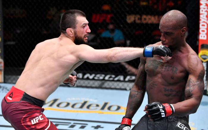 Abubakar Nurmagomedov of Russia punches Jared Gooden in their welterweight fight during the UFC 260 event at UFC APEX on March 27, 2021 in Las Vegas, Nevada. (Photo by Jeff Bottari/Zuffa LLC)