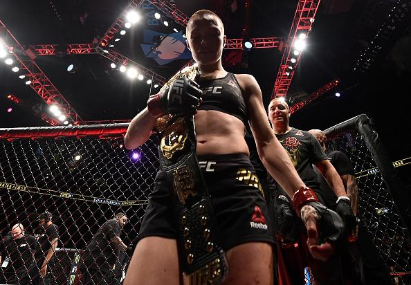 BROOKLYN, NEW YORK - APRIL 07:  Rose Namajunas celebrates after her victory over Joanna Jedrzejczyk in their women's strawweight title bout during the UFC 223 event inside Barclays Center on April 7, 2018 in Brooklyn, New York. (Photo by Brandon Magnus/Zu