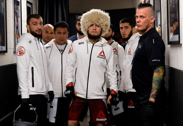 BROOKLYN, NEW YORK - APRIL 07:  Khabib Nurmagomedov of Russia prepares to fight Al Iaquinta during the UFC 223 event inside Barclays Center on April 7, 2018 in Brooklyn, New York. (Photo by Mike Roach/Zuffa LLC/Zuffa LLC via Getty Images)