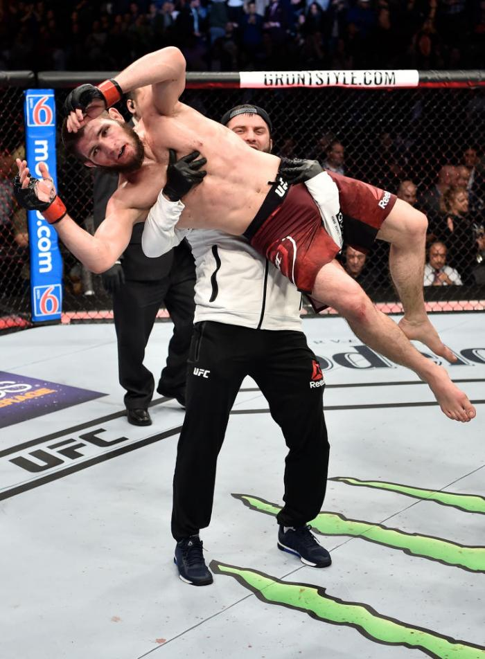 BROOKLYN, NEW YORK - APRIL 07:  Khabib Nurmagomedov of Russia celebrates after a dominating performance over Al Iaquinta in their lightweight title bout during the UFC 223 event inside Barclays Center on April 7, 2018 in Brooklyn, New York. (Photo by Jeff