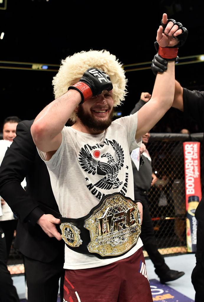BROOKLYN, NEW YORK - APRIL 07:  Khabib Nurmagomedov of Russia celebrates after his unanimous-decision victory over Al Iaquinta in their lightweight title bout during the UFC 223 event inside Barclays Center on April 7, 2018 in Brooklyn, New York. (Photo b