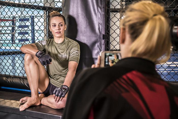 Las Vegas 5/27/18 - Antonina Shevchenko at the UFC Performance Institute in las Vegas preparing for Dana White's Tuesday Night Contender Series, while her sister Valentina Shevchenko takes a picture. (Photo credit: Juan Cardenas)