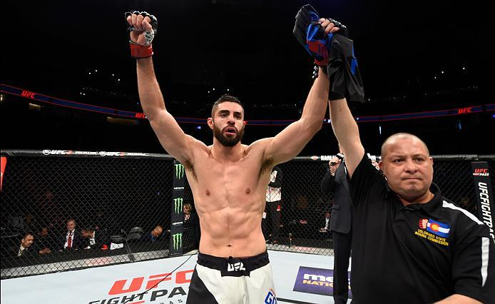 DENVER, CO - JANUARY 28:  Jason Gonzalez celebrates his submission victory over J.C. Cottrell in their lightweight bout during the UFC Fight Night event at the Pepsi Center on January 28, 2017 in Denver, Colorado. (Photo by Josh Hedges/Zuffa LLC/Zuffa LLC