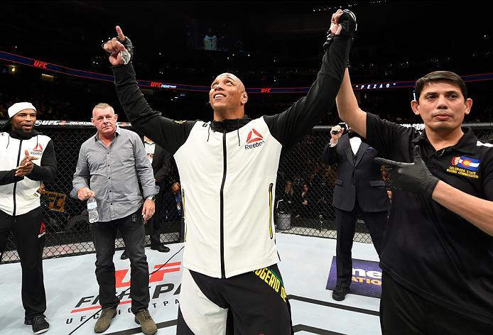 DENVER, CO - JANUARY 28:  Marcos Rogerio de Lima of Brazil celebrates his victory over Jeremy Kimball in their light heavyweight bout during the UFC Fight Night event at the Pepsi Center on January 28, 2017 in Denver, Colorado. (Photo by Josh Hedges/Zuffa