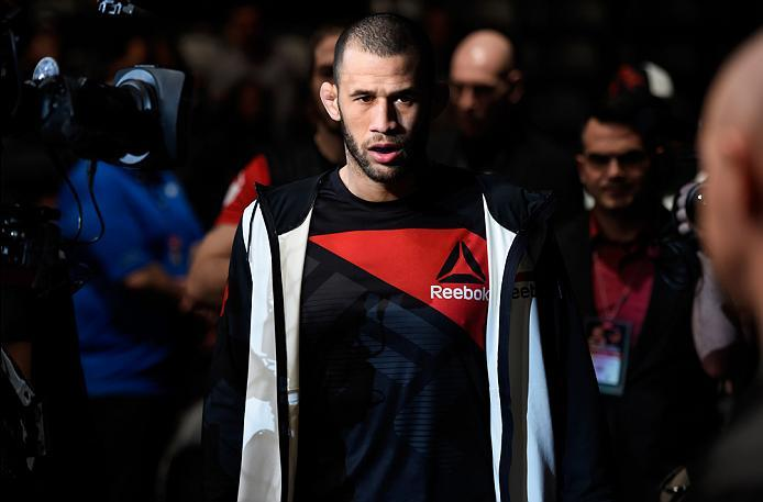 DENVER, CO - JANUARY 28:  Eric Spicely prepares to enter the Octagon before facing Alessio Di Chirico of Italy in their middleweight bout during the UFC Fight Night event at the Pepsi Center on January 28, 2017 in Denver, Colorado. (Photo by Josh Hedges/Z