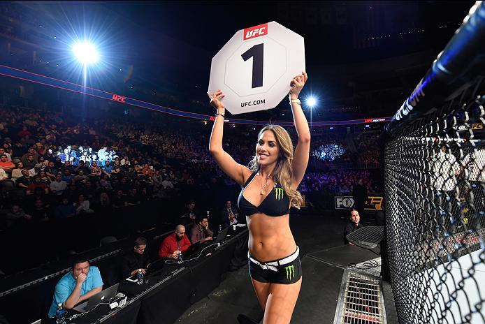 DENVER, CO - JANUARY 28:  UFC Octagon Girl Brittney Palmer introduces the first round during the UFC Fight Night event at the Pepsi Center on January 28, 2017 in Denver, Colorado. (Photo by Josh Hedges/Zuffa LLC/Zuffa LLC via Getty Images)