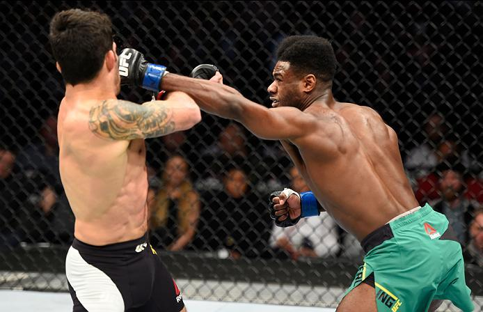 DENVER, CO - JANUARY 28:  (R-L) Aljamain Sterling punches Raphael Assuncao of Brazil in their bantamweight bout during the UFC Fight Night event at the Pepsi Center on January 28, 2017 in Denver, Colorado. (Photo by Josh Hedges/Zuffa LLC/Zuffa LLC via Get