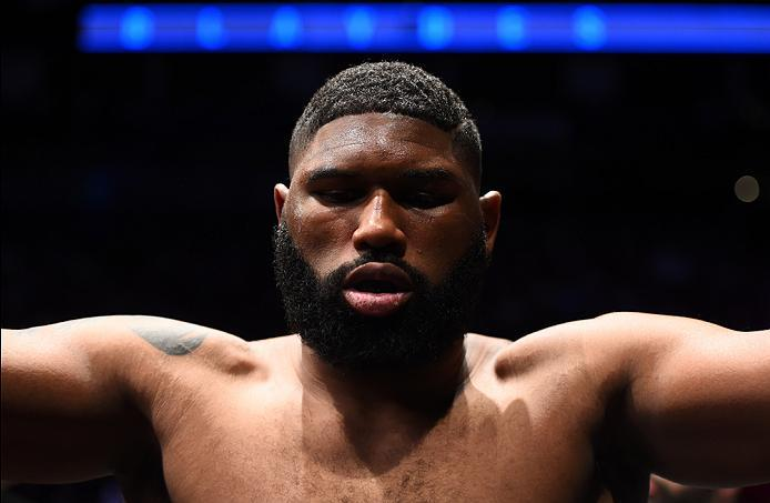 HOUSTON, TX - FEBRUARY 04:  Curtis Blaydes prepares to enter the Octagon before facing Adam Milstead in their heavyweight bout during the UFC Fight Night event at the Toyota Center on February 4, 2017 in Houston, Texas. (Photo by Jeff Bottari/Zuffa LLC/Zu