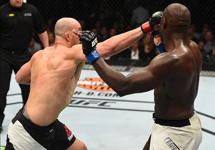 BROOKLYN, NEW YORK - FEBRUARY 11:  (L-R) Glover Teixeira of Brazil punches Jared Cannonier in their light heavyweight bout during the UFC 208 event inside Barclays Center on February 11, 2017 in Brooklyn, New York. (Photo by Jeff Bottari/Zuffa LLC/Zuffa L