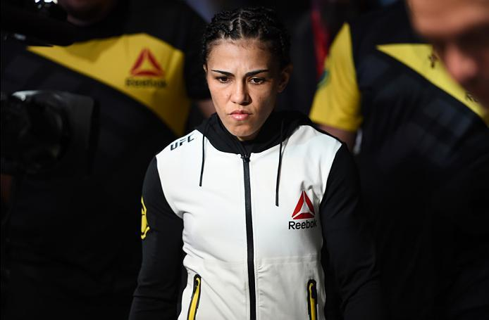 HOUSTON, TX - FEBRUARY 04:  Jessica Andrade of Brazil prepares to enter the Octagon before facing Angela Hill in their women's strawweight bout during the UFC Fight Night event at the Toyota Center on February 4, 2017 in Houston, Texas. (Photo by Jeff Bot