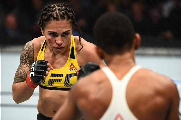 HOUSTON, TX - FEBRUARY 04:  (L-R) Jessica Andrade of Brazil circles Angela Hill in their women's strawweight bout during the UFC Fight Night event at the Toyota Center on February 4, 2017 in Houston, Texas. (Photo by Jeff Bottari/Zuffa LLC/Zuffa LLC via G