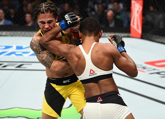 HOUSTON, TX - FEBRUARY 04:  (R-L) Angela Hill elbows Jessica Andrade of Brazil in their women's strawweight bout during the UFC Fight Night event at the Toyota Center on February 4, 2017 in Houston, Texas. (Photo by Jeff Bottari/Zuffa LLC/Zuffa LLC via Ge