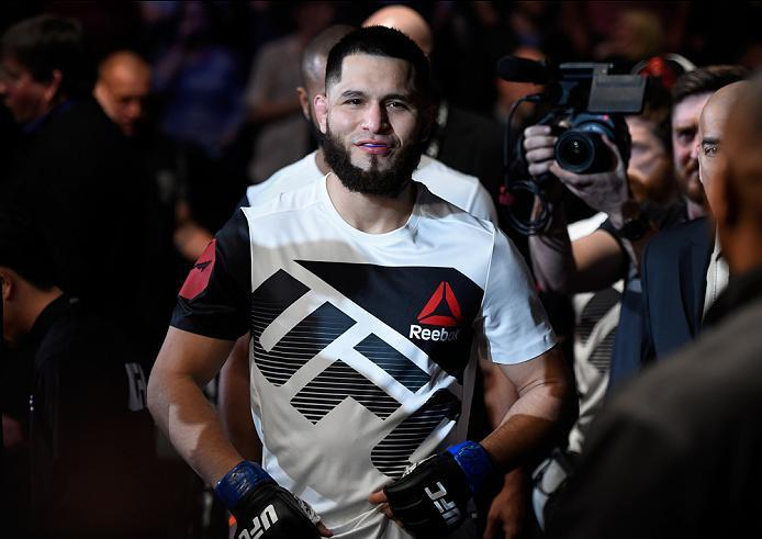 DENVER, CO - JANUARY 28:  Jorge Masvidal prepares to enter the Octagon before facing Donald Cerrone in their welterweight bout during the UFC Fight Night event at the Pepsi Center on January 28, 2017 in Denver, Colorado. (Photo by Josh Hedges/Zuffa LLC/Zu