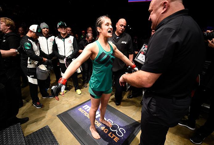 HOUSTON, TX - FEBRUARY 04:  Alexa Grasso of Mexico prepares to enter the Octagon before facing Felice Herrig in their women's strawweight bout during the UFC Fight Night event at the Toyota Center on February 4, 2017 in Houston, Texas. (Photo by Jeff Bott