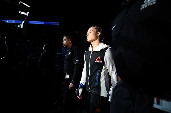 HOUSTON, TX - FEBRUARY 04:  Felice Herrig prepares to enter the Octagon before facing Alexa Grasso of Mexico in their women's strawweight bout during the UFC Fight Night event at the Toyota Center on February 4, 2017 in Houston, Texas. (Photo by Jeff Bott