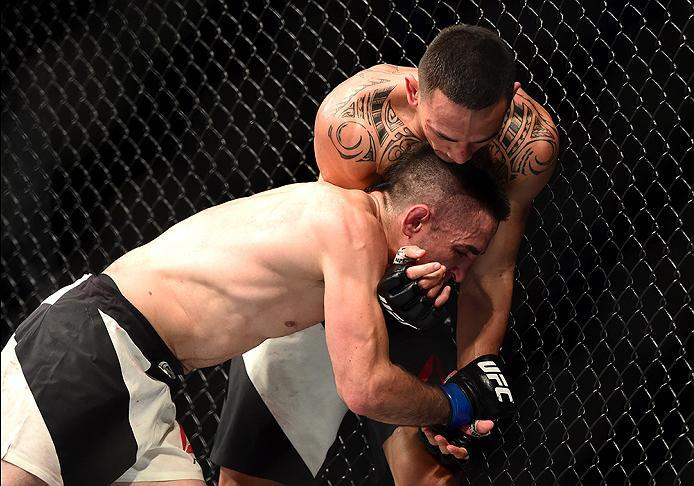 INGLEWOOD, CA - JUNE 04:  Max Holloway wrestles Ricardo Lamas in their featherweight bout during the UFC 199 event at The Forum on June 4, 2016 in Inglewood, California.  (Photo by Harry How/Zuffa LLC/Zuffa LLC via Getty Images)