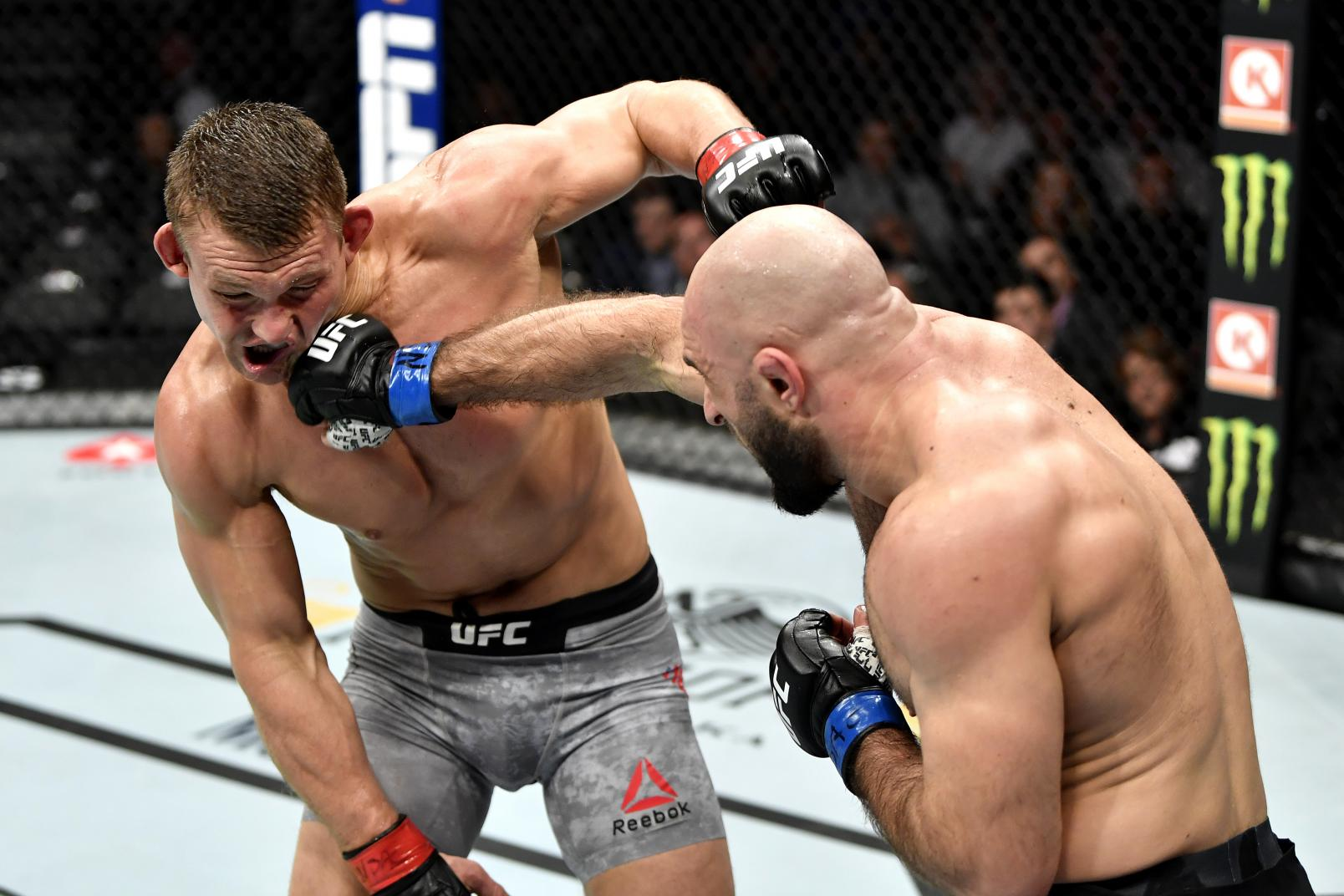 Omari Akhmedov of Russia punches Ian Heinisch in their middleweight bout during the UFC 245.