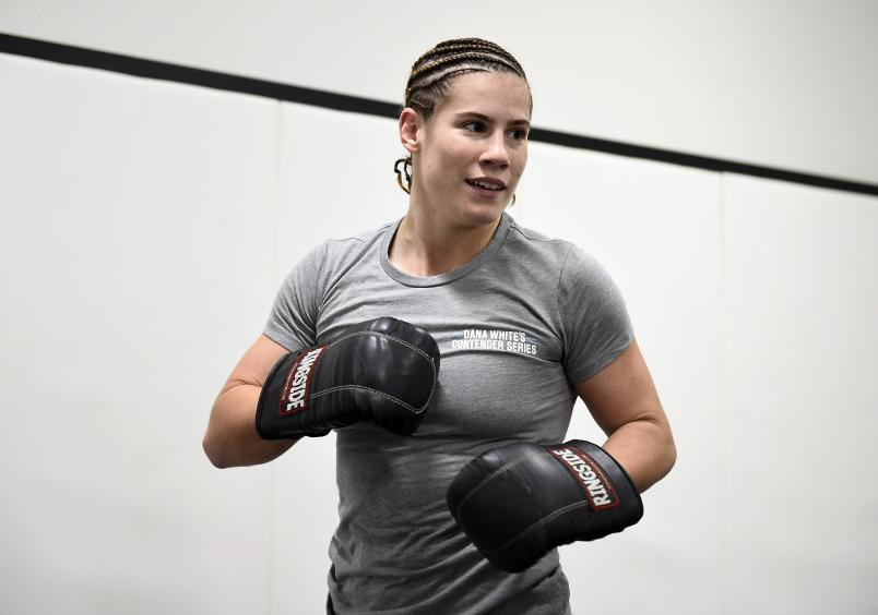 Victoria Leonardo warms up prior to her fight during Dana White's Contender Series season four week ten at UFC APEX on November 17, 2020 in Las Vegas, Nevada. (Photo by Chris Unger/DWCS LLC/Zuffa LLC)