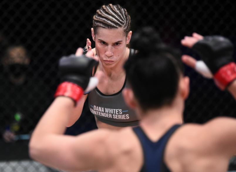 Victoria Leonardo battles Chelsea Hackett in a flyweight bout during Dana White's Contender Series season four week ten at UFC APEX on November 17, 2020 in Las Vegas, Nevada. (Photo by Chris Unger/DWCS LLC/Zuffa LLC)