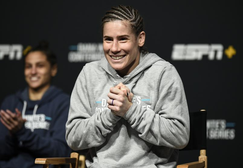 Victoria Leonardo reacts after being awarded a UFC contract during Dana White's Contender Series season four week ten at UFC APEX on November 17, 2020 in Las Vegas, Nevada. (Photo by Chris Unger/DWCS LLC/Zuffa LLC)