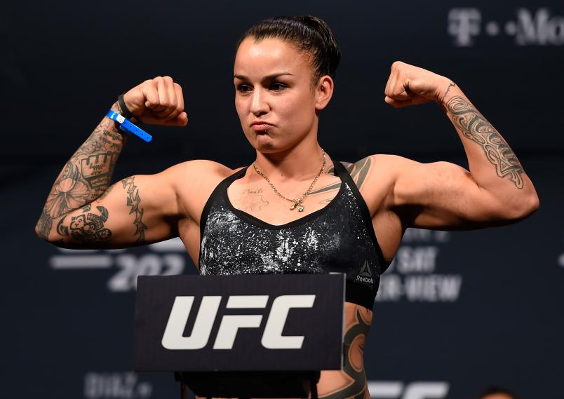 LAS VEGAS, NV - AUGUST 19:   Raquel Pennington poses on the scale during the UFC 202 weigh-in at the MGM Grand Hotel & Casino on August 19, 2016 in Las Vegas, Nevada. (Photo by Josh Hedges/Zuffa LLC via Getty Images)