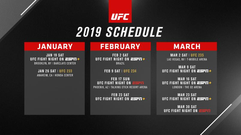 Calendar Of Events Philadelphia February 16th 2019 UFC Announces First Quarter Schedule for 2019 | UFC