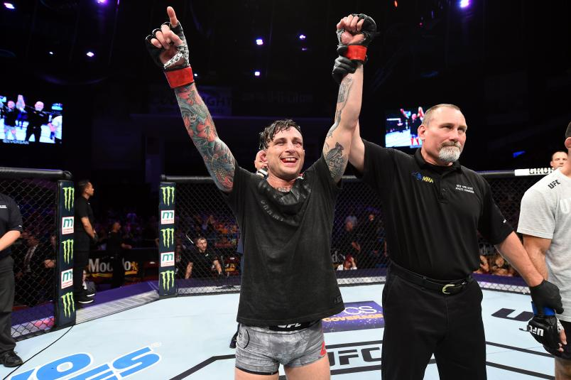 UTICA, NY - JUNE 01: Gregor Gillespie celebrates after defeating Vinc Pichel in their lightweight fight during the UFC Fight Night event at the Adirondack Bank Center on June 1, 2018 in Utica, New York. (Photo by Josh Hedges/Zuffa LLC/Zuffa LLC via Getty Images)