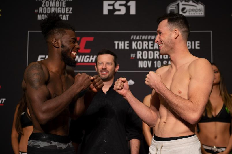 GOLDEN, CO - NOVEMBER 09: (L-R) Opponents Devonte Smith and Julian Erosa faceoff during the UFC Fight Night weigh-in on November 9, 2018 in Golden, Colorado. (Photo by Chris Unger/Zuffa LLC/Zuffa LLC via Getty Images)