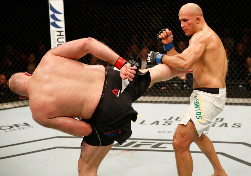 ZAGREB, CROATIA - APRIL 10: (L-R) Ben Rothwell kicks Junior Dos Santos in their heavyweight bout during the UFC Fight Night event at the Arena Zagreb on April 10, 2016 in Zagreb, Croatia. (Photo by Srdjan Stevanovic/Zuffa LLC/Zuffa LLC via Getty Images)