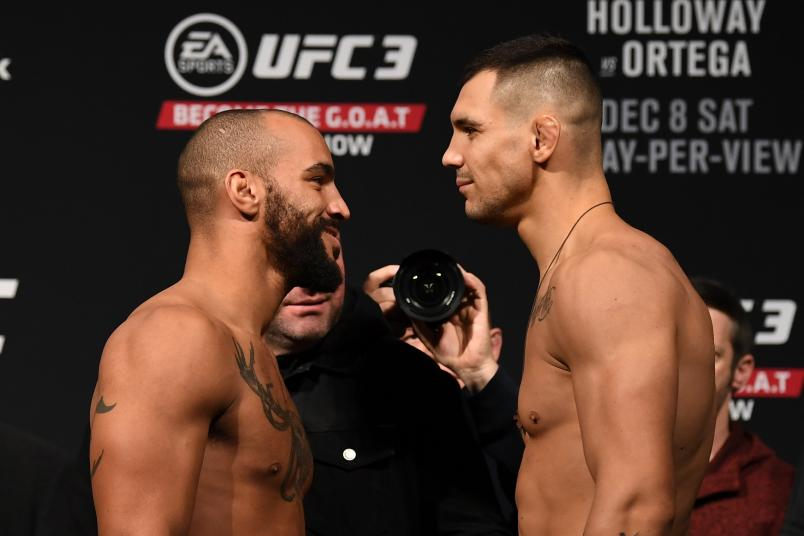 TORONTO, CANADA - DECEMBER 07: (L-R) Opponents Devin Clark and Aleksandar Rakic of Austria face-off during the UFC 231 weigh-in at Scotiabank Arena on December 7, 2018 in Toronto, Canada. (Photo by Josh Hedges/Zuffa LLC/Zuffa LLC via Getty Images)