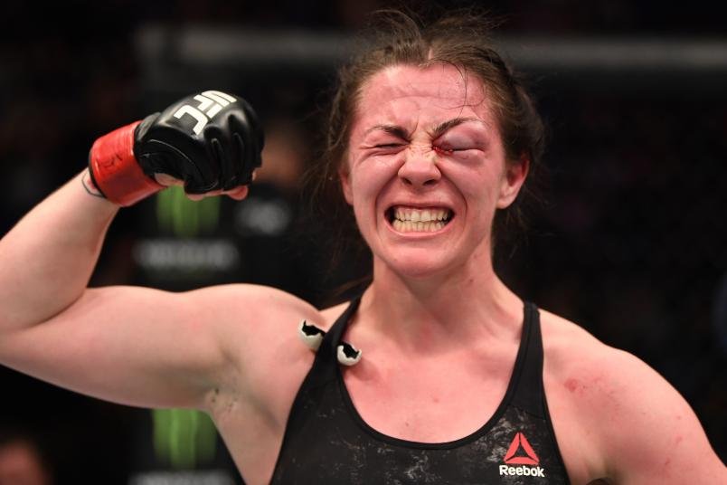 LONDON, ENGLAND - MARCH 16: Molly McCann of England reacts after the conclusion of her women's flyweight bout against Priscila Cachoeira during the UFC Fight Night event at The O2 Arena on March 16, 2019 in London, England. (Photo by Jeff Bottari/Zuffa LLC/Zuffa LLC via Getty Images)