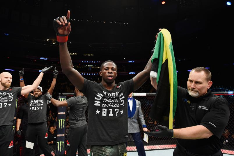 NEW YORK, NY - NOVEMBER 04: Randy Brown of Jamaica celebrates after defeating Mickey Gall in their welterweight bout during the UFC 217 event at Madison Square Garden on November 4, 2017 in New York City. (Photo by Josh Hedges/Zuffa LLC/Zuffa LLC via Getty Images)