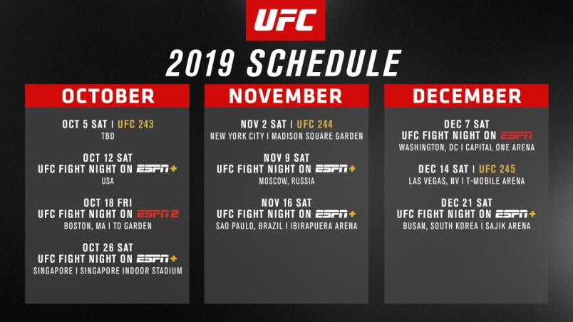 Remaining UFC 2019 Schedule Announced | UFC