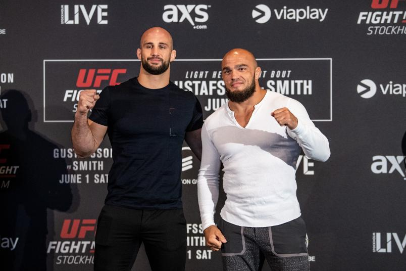 STOCKHOLM, SWEDEN - MAY 30: (L-R) Volkan Oezdemir of Switzerland and IIir Latifi of Sweden pose for the media during the UFC Fight Night Ultimate Media Day at Ericsson Globe Arena on May 30, 2019 in Stockholm, Sweden. (Photo by Jeff Bottari/Zuffa LLC)