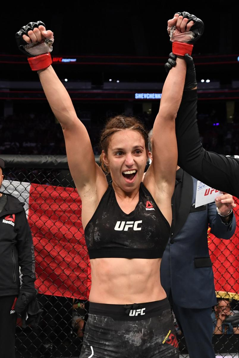 NEWARK, NJ - AUGUST 03: Antonina Shevchenko of Kyrgyzstan celebrates her submission victory over Lucie Pudilova of Czech Republic in their women's flyweight bout during the UFC Fight Night event at the Prudential Center on August 3, 2019 in Newark, New Jersey. (Photo by Josh Hedges/Zuffa LLC)