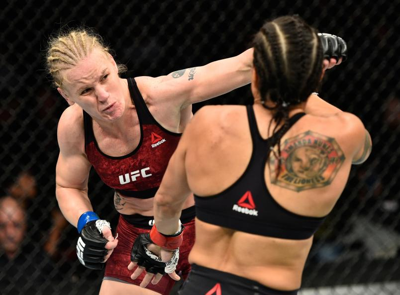 EDMONTON, AB - SEPTEMBER 09: (L-R) Valentina Shevchenko of Kyrgyzstan punches Amanda Nunes of Brazil in their women's bantamweight bout during the UFC 215 event inside the Rogers Place on September 9, 2017 in Edmonton, Alberta, Canada. (Photo by Jeff Bottari/Zuffa LLC/Zuffa LLC via Getty Images)