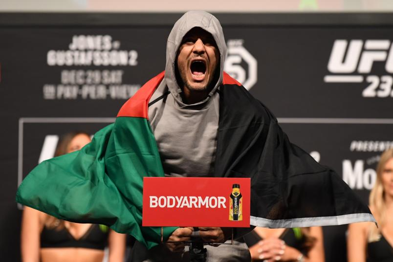 INGLEWOOD, CA - DECEMBER 28: Siyar Bahadurzada of Afghanistan poses on the scale during the UFC 232 weigh-in inside The Forum on December 28, 2018 in Inglewood, California. (Photo by Josh Hedges/Zuffa LLC/Zuffa LLC via Getty Images)
