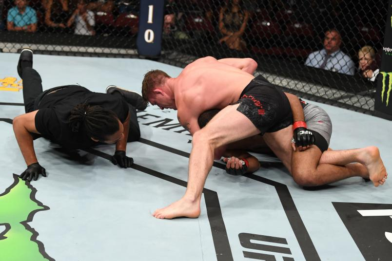NEWARK, NJ - AUGUST 03: Gerald Meerschaert (top) submits Trevin Giles in their middleweight bout during the UFC Fight Night event at the Prudential Center on August 3, 2019 in Newark, New Jersey. (Photo by Josh Hedges/Zuffa LLC/Zuffa LLC via Getty Images)