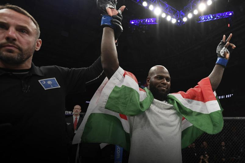 Jairzinho Rozenstruik of Suriname celebrates his KO victory over Alistair Overeem of Netherlands in their heavyweight bout during the UFC Fight Night event at Capital One Arena on December 07, 2019 in Washington, DC. (Photo by Jeff Bottari/Zuffa LLC)