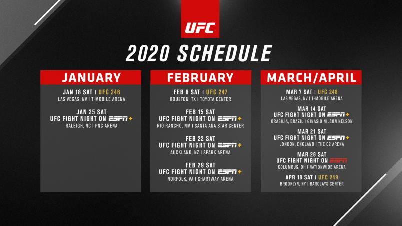 UFC Announces 2020 Q1 Event Schedule | UFC