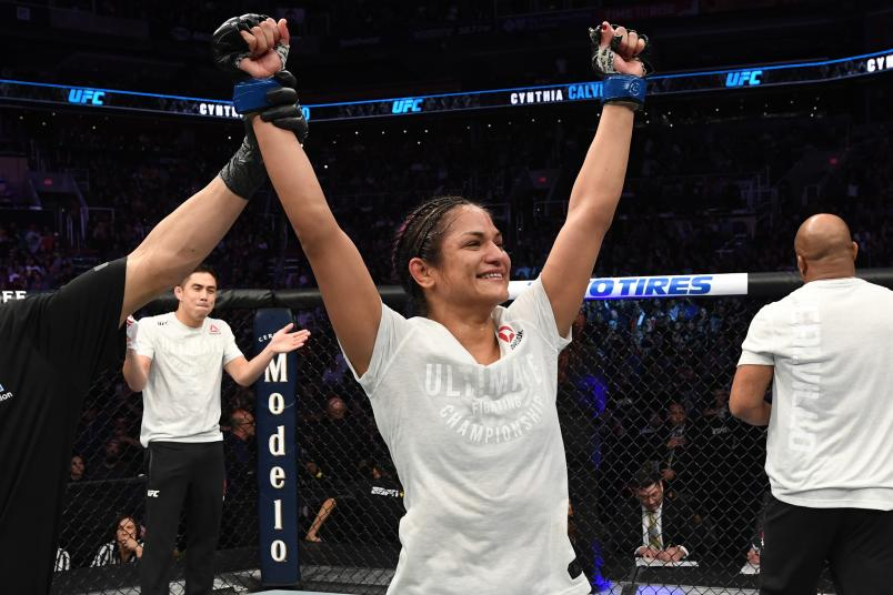 Cynthia Calvillo celebrates her victory over Cortney Casey in their women's strawweight bout during the UFC Fight Night event at Talking Stick Resort Arena on February 17, 2019 in Phoenix, Arizona. (Photo by Josh Hedges/Zuffa LLC via Getty Images)